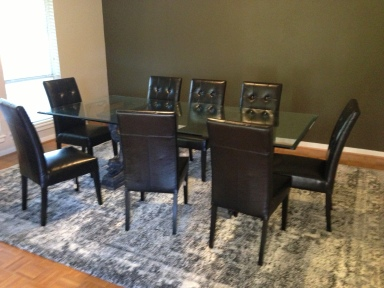 4'x8' glass dining room table with chairs