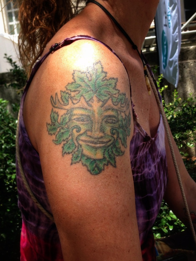 Green Man tattoo designed and modeled by Shanti Visionary Artist. Taken with iPhone5 at Houston iFest 2014