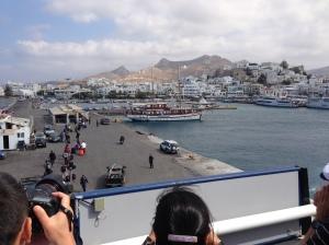 Arriving in Mykonos, Greece
