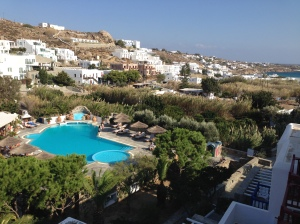 View from our hotel. Hotel Kamari. Platis Gialos beach, Mykonos