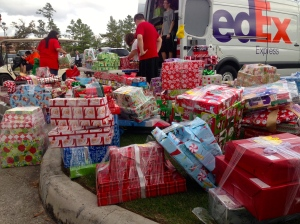Gift wrapped presents for needy kids